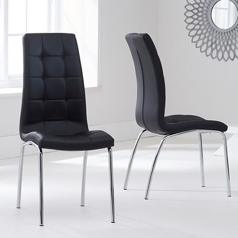 Grus Black Leather Dining Chairs In Pair