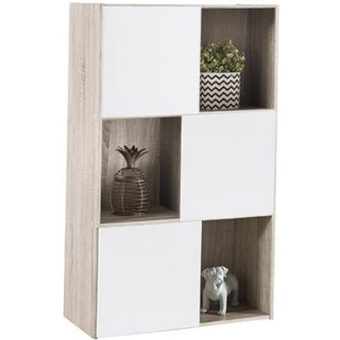 Hadley Wooden Bookcase In White With 3 Doors