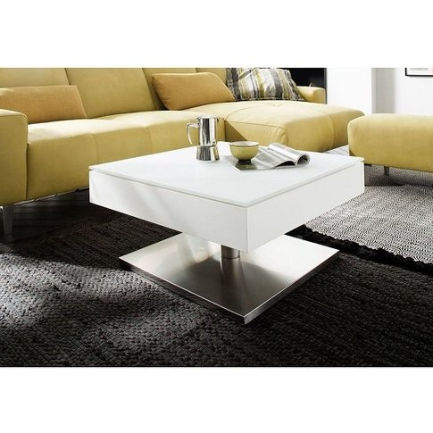 Hadley Storage Glass Coffee Table In Matt White With...
