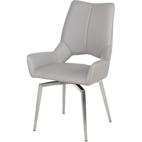 Halle Swivel Dining Chair In Taupe Faux Leather