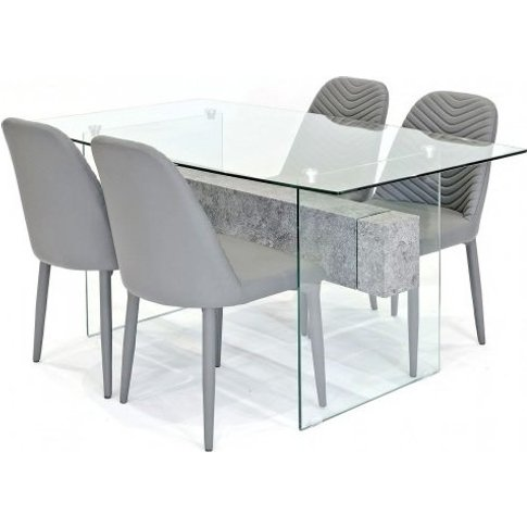 Halley Glass Dining Table Rectangular In Clear And 4...