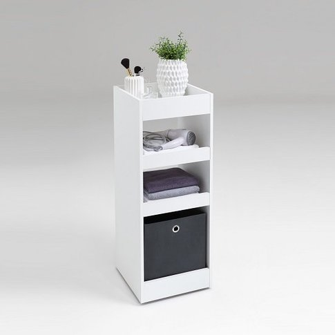 Candy Bathroom Storage Trolley In White With Shelves