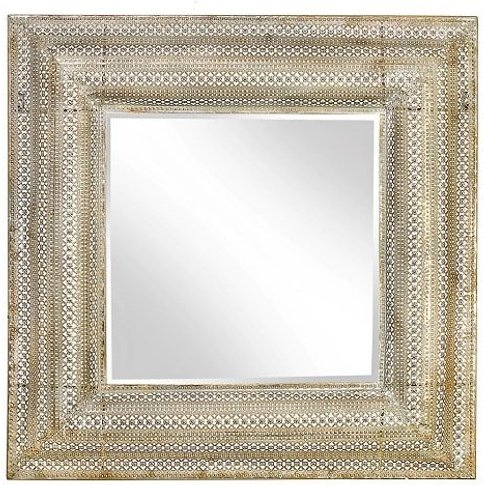Hampshire Wall Mirror Square In Motif Mesh Dull Gold Finish