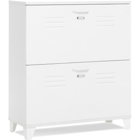 Hampstead Wooden Shoe Storage Cabinet In White