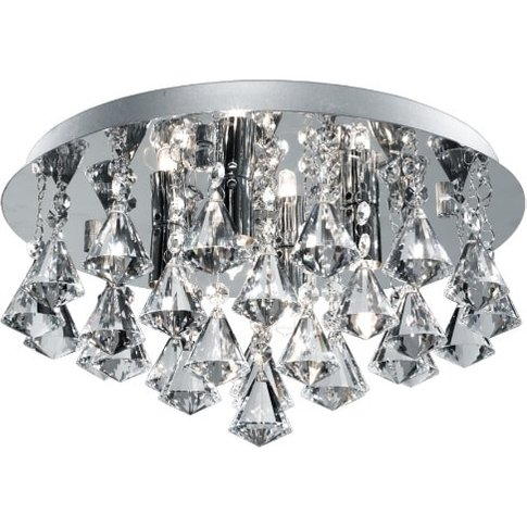Hanna 4 Light Crystal Ceiling Light In Chrome