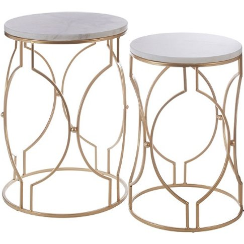 Hannah Set Of 2 Marble Side Tables In White And Gold...