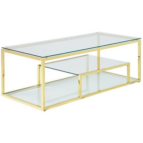 Hansen Glass Coffee Table In Clear With Gold Finish ...