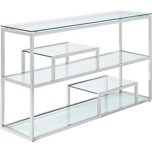 Hansen Glass Console Table In Clear And Polished Sta...