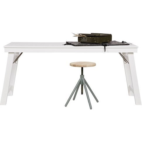 Hardy Wooden Computer Desk Rectangular In White