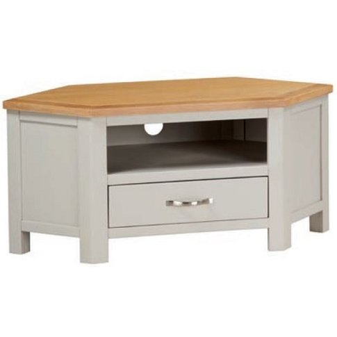 Hart Wooden Corner TV Stand In Stone Painted Finish