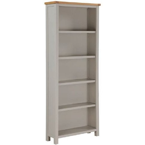 Hart Wooden Tall Bookcase In Stone Painted Finish