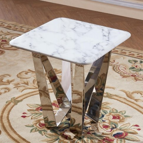 Harvell Marble Effect Lamp Table With Stainless Stee...
