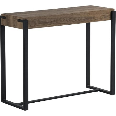 Hawkes Wooden Console Table In Oak With Black Metal ...