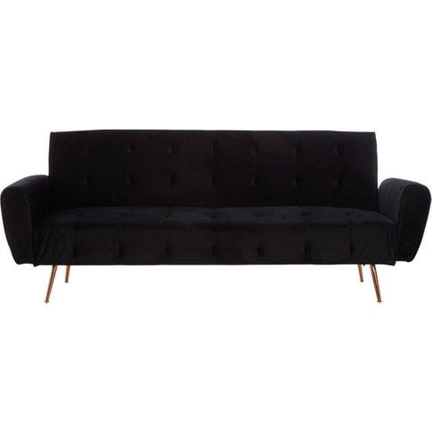 Emiw Black Velvet Sofa Bed With Metallic Gold Legs