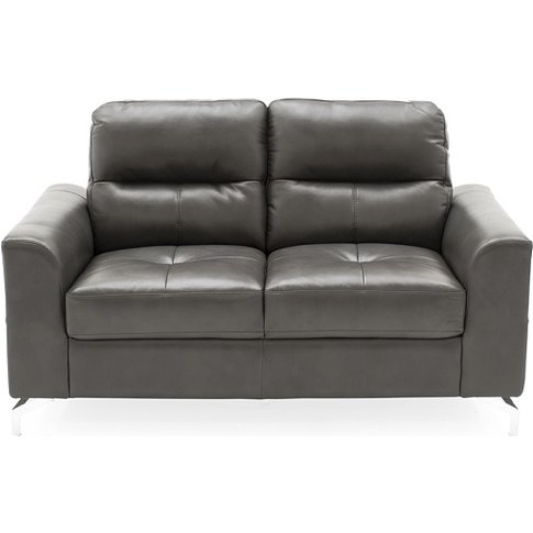 Healy 2 Seater Sofa In Grey Faux Leather With Chrome...