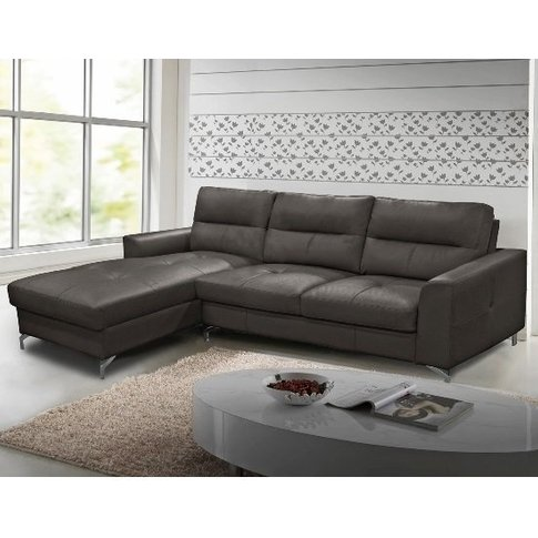 Healy Left Corner Sofa In Grey Faux Leather With Chr...