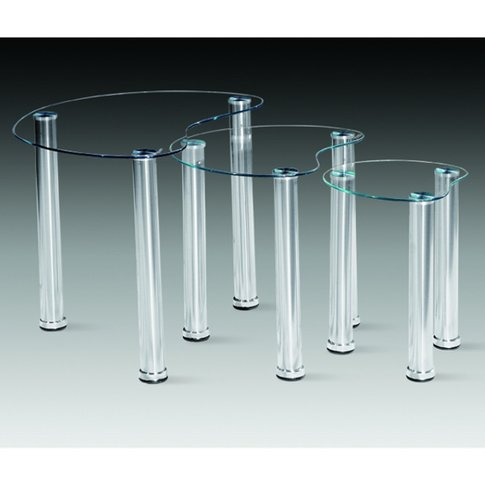 3pc Clear Heart Nest Of Tables