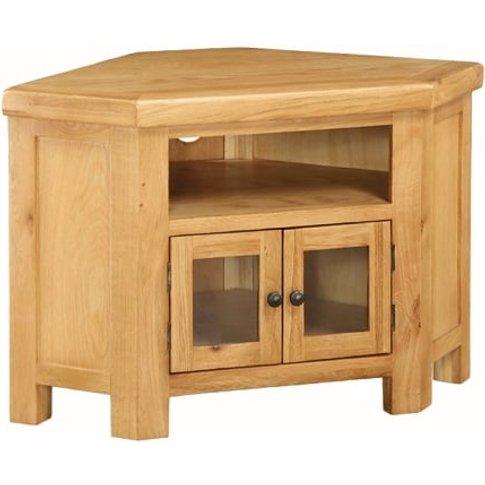 Heaton Wooden Corner TV Stand In Solid Oak With 2 Doors