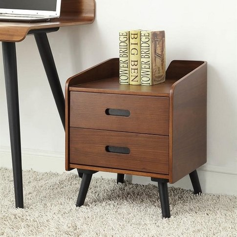 Hector Wooden Office Cabinet In Walnut With 2 Drawers