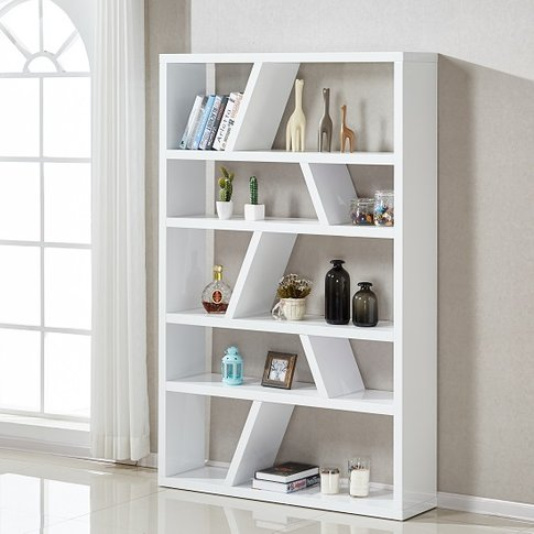 Helix Contemporary Bookcase Or Shelving Unit In Whit...