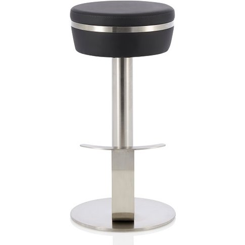 Heston Bar Stool In Black Faux Leather With Stainles...