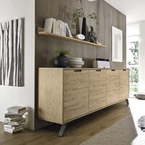Heyford Wooden Sideboard Large In Sherwood Oak With ...