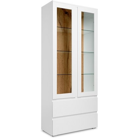 Hilary Display Cabinet In White And Oak With 2 Glass...
