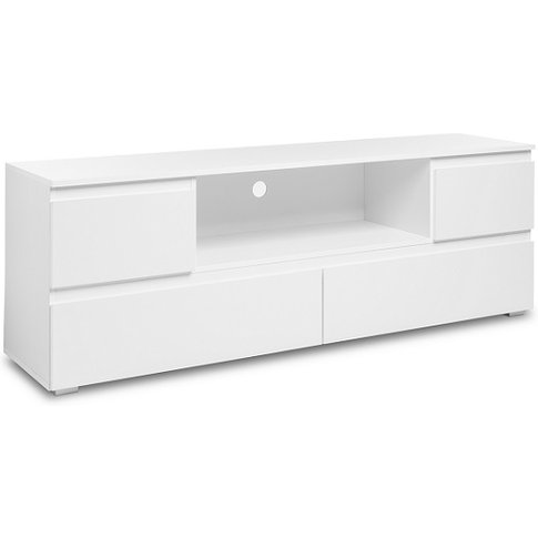 Hilary Wooden Tv Stand In White With 4 Drawers