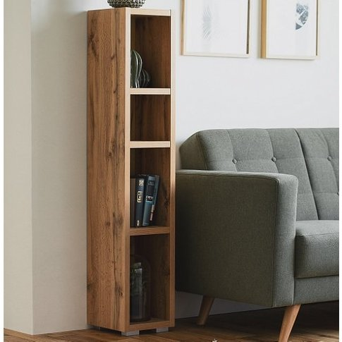 Hilary Shelving Unit In Golden Oak With 4 Open Compa...