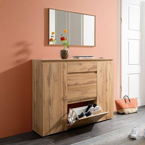 Hilary Wooden Shoe Storage Cupboard In Golden Oak