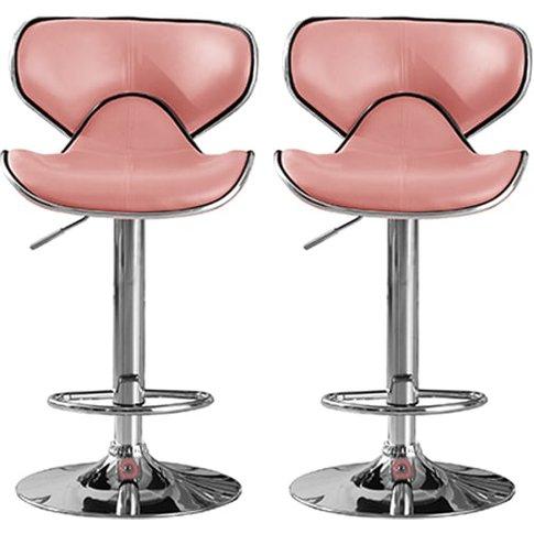 Hillside Pink Pu Leather Bar Stool With Chrome Base ...