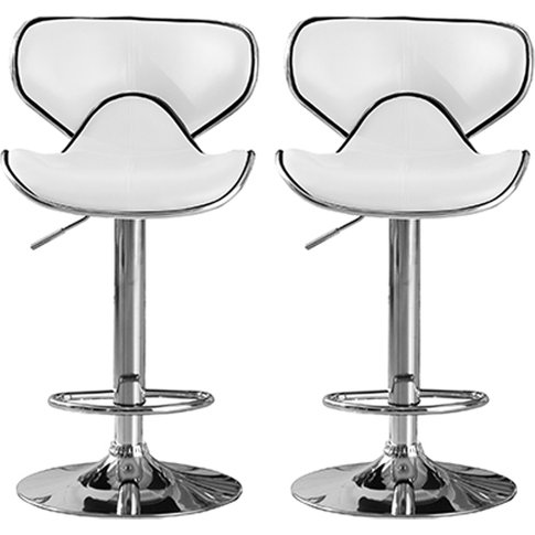 Hillside White Pu Leather Bar Stool In Pair With Chr...