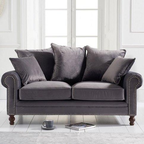 Hoffman Modern 2 Seater Sofa In Grey Plush Fabric