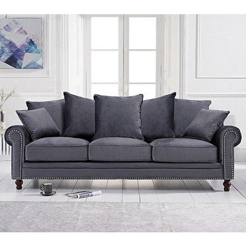 Hoffman Modern 3 Seater Sofa In Grey Plush Fabric