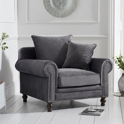 Hoffman Modern Sofa Chair In Grey Plush Fabric With ...
