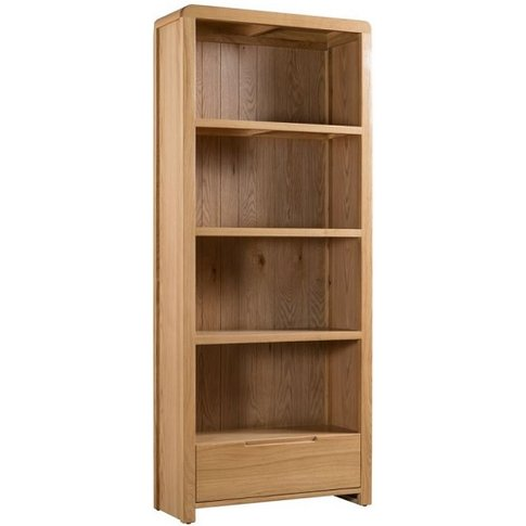 Holborn Wooden Bookcase Tall In Oak With 1 Drawer