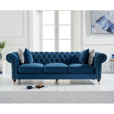 Holbrook Chesterfield 3 Seater Sofa In Blue Velvet
