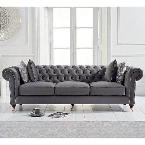 Holbrook Chesterfield 3 Seater Sofa In Grey Velvet