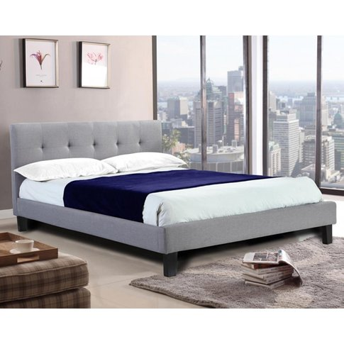 Hollywell Linen Fabric King Size Bed In Grey