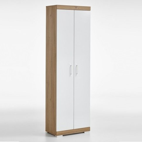 Holte Hallway Wardrobe In Oak And Glossy White With ...