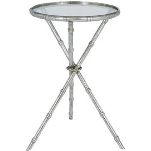 Holzman Glass Side Table In Clear With Silver Finish...