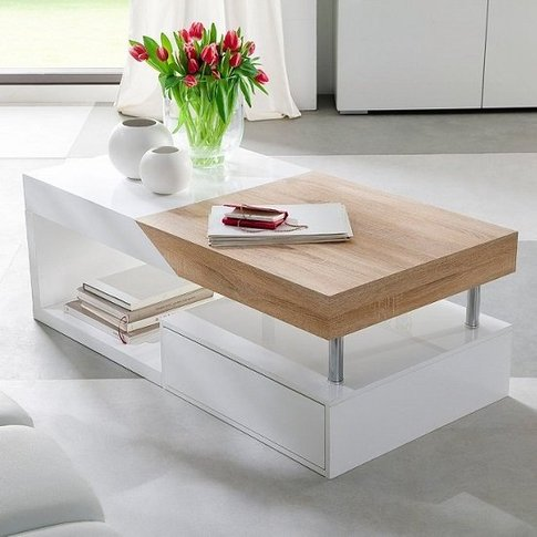 Hope Storage Coffee Table In Sawn Oak With White Dra...
