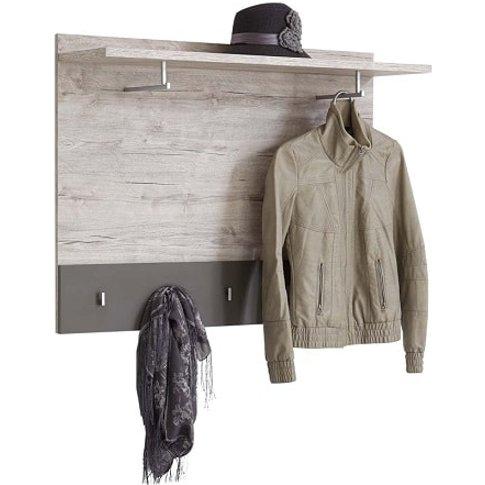 Hoskin Modern Wall Mounted Coat Rack In Sand Oak And...