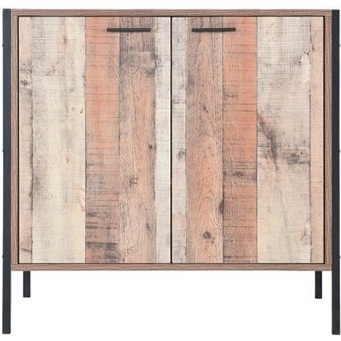 Hoston Shoe Cabinet In Distressed Oak Finish With Tw...