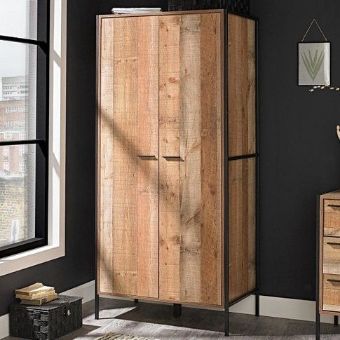 Hoston Wardrobe In Distressed Oak With Two Doors