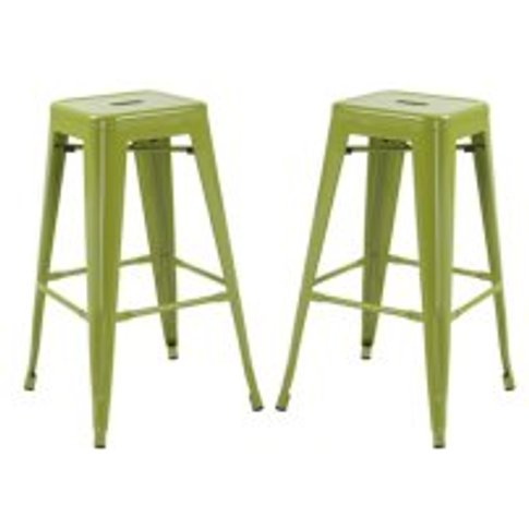 Hoxton Metal Stackable Bar Stool In Green in A Pair