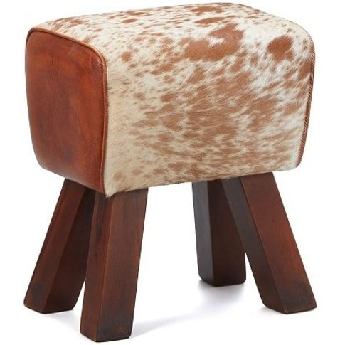 Hurst Stool In Cream And Brown Leather With Solid Wo...