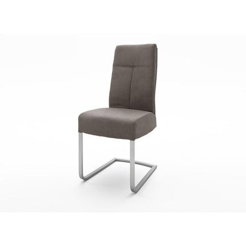 Ibsen Modern Dining Chair In Leather Look Brown