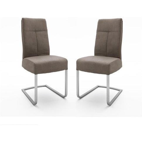 Ibsen Modern Dining Chair In Leather Look Sand In A ...