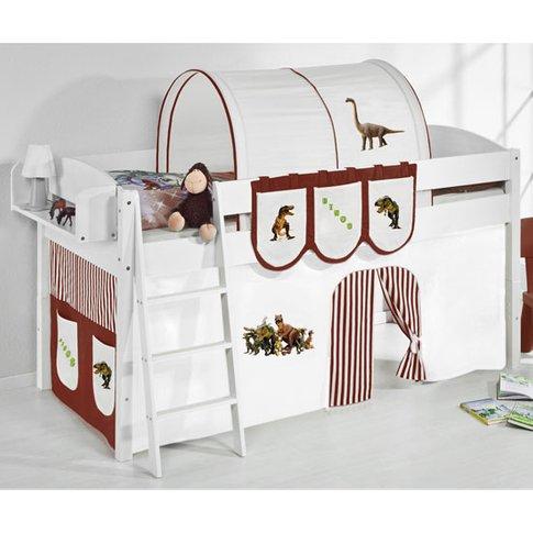 Lilla Children Bed In White With Dinosaur Brown Curt...